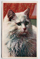 Vintage 1937 postcard White/Blue Cat/Kitten Printed in Italy DECO-ERA