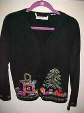 THE CHRISTMAS COLLECTION 2002 sz M L Black Sweater Bling Bells Tree Fireplace