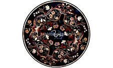 "36"" Black Marble Round Dining Table Top Multi Floral Inlay Christmas Decor B569"