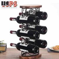 Wrought Iron 6 Bottle Wine Rack Holder Storage Organiser  Display Shelf Bar Wood