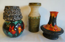 VASEN 3 x Fat Lava Blumenvasen handmade 70er Jahre West Germany