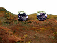AMETHYST   Sterling  Silver  925  Gemstone Earrings / STUDS  -  5 x 7 mm