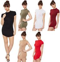 New Womens Turtle Polo Neck Cap Sleeve Curved Hem Hi Lo Top Ladies T-Shirt Dress