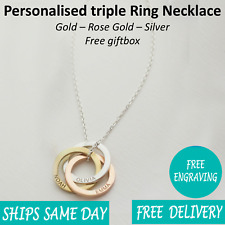 Personalised Engraved Womens Name Circle Necklace Rose Gold Silver Giftbox