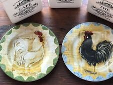 Set of 2 Colonial Rooster Kim Poloson Sakura NWT Itaglio Plate Salad SOLD OUT