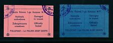 POLAND WW2 1942 PROTECTIVE SEAL LABELS 1st POLISH ARMY CORP PINK + BLUE OFFICIAL