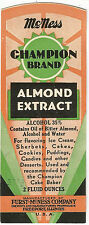 Label-CHAMPION almond extract.FURST-McNESS Co, Freeport,IL.original= melaneybuy
