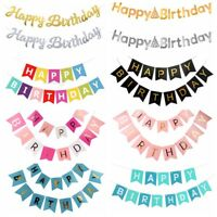 Gold Letter Happy Birthday Banner Paper Flag Garland Birthday Party Decorations
