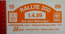 Aufkleber/Sticker: Rallye 200 - 1989 - ADAC - Melsungen (19041695)