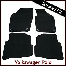 VW Polo Mk4 Facelift 2006-2009 Oval Eyelets Tailored Carpet Car Mats BLACK