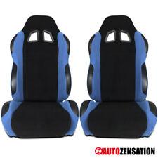 L+R Passenger Side Reclinable Racing Seats Steel Blue/Black Fabric Pair+Sliders