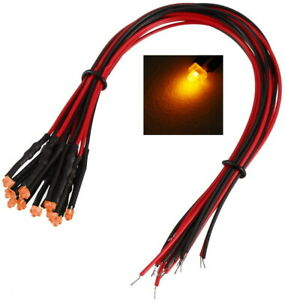 Leds 1,8mm Orange Diffusion with Cable 12-19V Wired Mini Leds 20 Piece S617