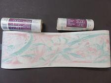3 Rolls Wallpaper Border Pink Green Flowers Textured P&J Studio Line 3x5 Yds