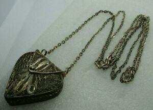 Vintage Miniature Filagree Coin Purse Necklace