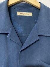 Tommy Bahama Men Blue Button Resort Collar Silk Shirt size XL