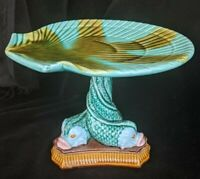 Majolica Pottery Dolphin Fish Shell Pedestal Stand Cake Plate Zrike