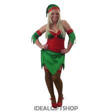 LADIES ELF COSTUME SEXY FANCY DRESS CHRISTMAS PIXIE SANTA'S HELPER + STOCKINGS