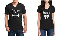 V-neck Beast & Beauty Couple Shirts Funny Matching T-Shirts Valentine's Day Tees