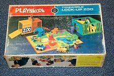 1971 MILTON BRADLEY PLAYSKOOL TYKEWORLD LOCK-UP ZOO WOOD PLAY SET & BOX