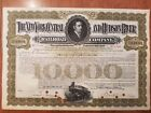 $10,000 1910's New York Central And Hudson River Railroad Bond Stock Certificate