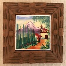 Vintage Coaster Hand Carved Wood Painted Tile Church Mountain Miniature Art