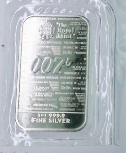 2020 Royal Mint British 1 OZ .9999 FINE SILVER BAR 007 JAMES BOND #658
