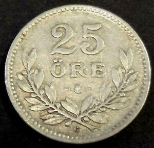 Sweden 25 ore 1936 broken G see online catalogue Numista