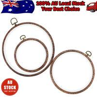 3Pcs Embroidery Circle Hoops Cross Hoop Ring Wood color Circle Set Display Frame