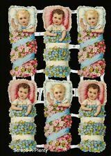 German Embossed Vintage Style Scrap Die Cut - Baby / Children / Flowers EF7131