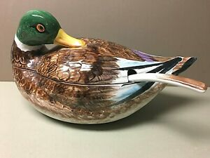 Vintage Large ITALIAN Duck Tureen W/Original Ladle-Super Nice!
