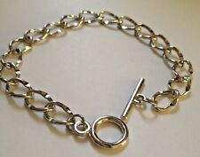 2 x Rhodium Plated Chain Link Bracelets - 20 cm approx - Toggle Fastening