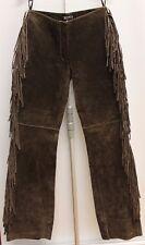 Vintage Brown Suede Leather Fringe Pants, Coachella, Burningman   Sz 3/4