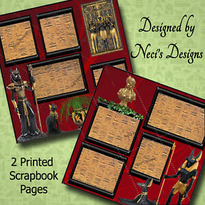Egyptian Theme Pages with Egyptian Figurines & Hieroglyphics - Handcrafted Art