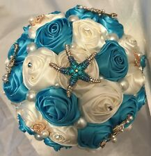 BEACH BROOCH BOUQUET & BOUTONNIERE SET, Quinceanera, Ivory and Turquoise Roses