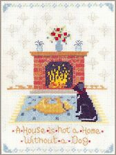 Dog at home Sampler - complete cross stitch kit on 14 aida with COLOUR chart