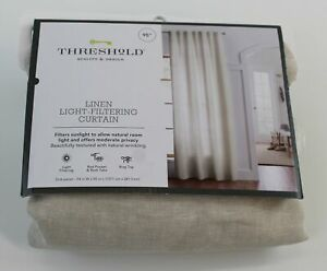 """THRESHOLD Curtain Panel NEW IN PACKAGE 95"""" x 54"""" Linen Light Filtering Natural"""