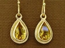 E089 Classic Genuine 9ct 9K Solid Yellow Gold NATURAL Citrine Tear Drop Earrings