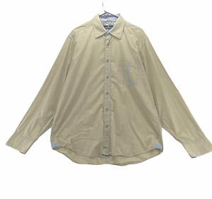 Bugatchi Uomo Men's Long Sleeved Dress Shirt Size L Large 100% Cotton Tan