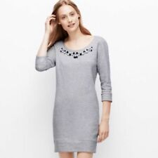 Ann Taylor XS P Blue Embellished Jewelled EUC sweatshirt dress tunic 3/4 sleeve