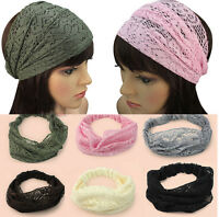 Hot Womens Hippie Retro lace Bohemian dance Wide Bandana Hair Headband Head Wrap