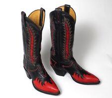 Tony Lama Classic Fire Walker Blk Cowboy Boots - Wmn's 5.5B Excellent Inlaid Vtg