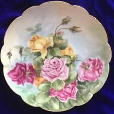 """Amazing Antique 13 5/8"""" (34.5cm) Limoges France Plate Hand Painted Roses"""