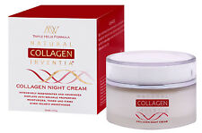 Natural Collagen Night Cream FREE Derma Roller Anti ageing Wrinkles Dry Lift AU