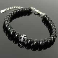 Men's Women Bracelet Black Obsidian Sterling Silver Cross Bead Clasp Link 1305