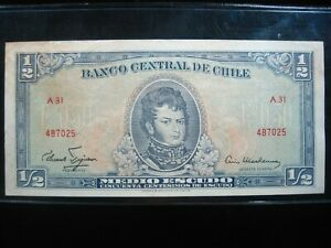 CHILE 1/2 ESCUODS 1962 - 1975 P134 025# BANK CURRENCY BANKNOTE MONEY