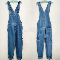 Men's Loose Pants Overalls Washed Denim Suspender Trousers Work Summer Jeans Sz