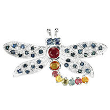 GENUINE MULTI COLOR SAPPHIRE ROUND STERLING 925 SILVER DRAGONFLY BROOCH