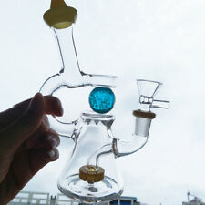 Amber Glass Smoking Bong Luminous Sky Blue Ball Water Pipe Recycler  Bowl
