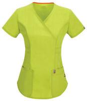 Code Happy Women's New Short Sleeve Pocket Mock Wrap Scrub Top. 46601AB