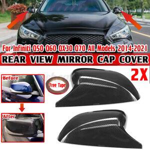 2X Side Mirror Cover Cap Carbon Fiber Look For Infiniti Q50 Q60 QX30 Q70 2014-21